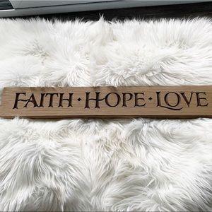 Faith Hope Love Wooden Sign Decor